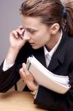 Bedrijfs Vrouw bij telefoon royalty-vrije stock afbeelding