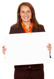 Bedrijfs vrouw - de banner voegt toe Stock Foto