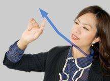 Bedrijfs vrouw die een grafiek trekt Stock Fotografie