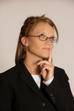 Het bedrijfs vrouw denken royalty-vrije stock foto