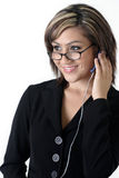 Bedrijfs vrouw die hoofdtelefoon draagt Stock Afbeeldingen