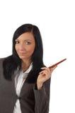 Bedrijfs vrouw die ideeën toont Stock Fotografie