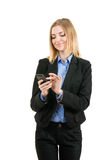Bedrijfs vrouw die met de telefoon werkt Stock Afbeelding