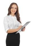 Bedrijfs vrouw die nota's neemt Stock Foto's