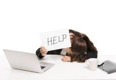 Bedrijfs vrouw die om hulp vraagt Stock Foto's