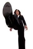 Bedrijfs vrouw die op iets stapt Stock Foto