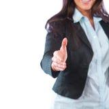 Bedrijfs vrouw die op wit wordt geïsoleerdb Royalty-vrije Stock Foto