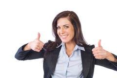 Bedrijfs vrouw die op wit wordt geïsoleerdc Stock Foto's