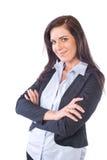 Bedrijfs vrouw die op wit wordt geïsoleerdg Royalty-vrije Stock Afbeeldingen