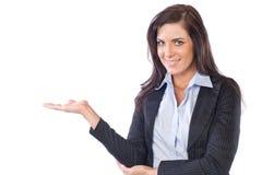 Bedrijfs vrouw die op wit wordt geïsoleerdo royalty-vrije stock foto's