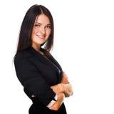 Bedrijfs vrouw die over witte achtergrond glimlacht Royalty-vrije Stock Afbeelding