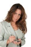Bedrijfs Vrouw die PDA 2 gebruikt Stock Foto's