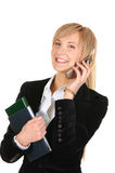 Bedrijfs vrouw die telefonisch roept. Stock Foto