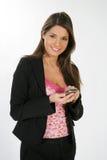 Bedrijfs vrouw en een telefoon Royalty-vrije Stock Foto's