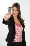 Bedrijfs vrouw en een telefoon Royalty-vrije Stock Afbeeldingen