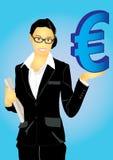 Bedrijfs vrouw en Euro geld Stock Afbeelding