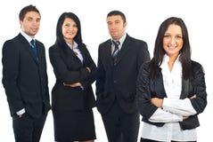 Bedrijfs vrouw en haar team Stock Afbeeldingen