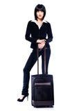 Bedrijfs vrouw en koffer Royalty-vrije Stock Afbeelding