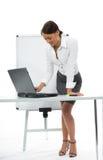 Bedrijfs vrouw en laptop stock foto's