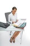 Bedrijfs vrouw en laptop Stock Afbeeldingen