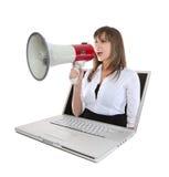 Bedrijfs Vrouw en Megafoon stock foto
