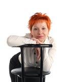 Bedrijfs vrouw en stoel stock afbeeldingen