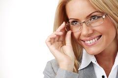 Bedrijfs vrouw in glazen Stock Afbeeldingen
