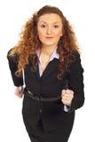 Bedrijfs vrouw klaar om de concurrentie te beginnen Stock Fotografie