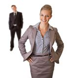 Bedrijfs vrouw in kostuum met geïsoleerdeg de mens Royalty-vrije Stock Afbeeldingen
