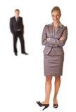 Bedrijfs vrouw in kostuum met geïsoleerder de mens Royalty-vrije Stock Fotografie
