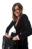 Bedrijfs vrouw met aktentas Stock Afbeeldingen