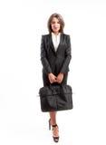 Bedrijfs vrouw met aktentas Stock Fotografie