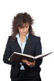Bedrijfs vrouw met boek royalty-vrije stock afbeelding