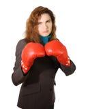 Bedrijfs Vrouw met Bokshandschoenen stock foto's