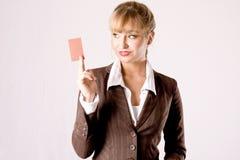 Bedrijfs vrouw met businesscard Stock Foto