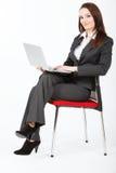 Bedrijfs vrouw met computer Royalty-vrije Stock Afbeeldingen