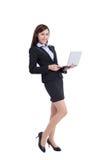 Bedrijfs vrouw met computer Royalty-vrije Stock Fotografie