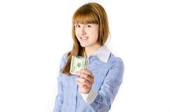 Bedrijfs vrouw met Dollars Stock Afbeelding