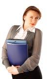 Bedrijfs vrouw met dossiers Stock Afbeelding