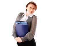 Bedrijfs vrouw met dossiers Stock Foto
