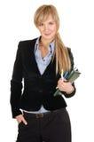 Bedrijfs vrouw met een blocnote. Stock Afbeelding