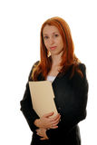 Bedrijfs vrouw met een dossier Stock Afbeeldingen