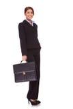 Bedrijfs vrouw met een koffer Stock Foto