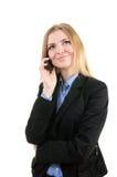 Bedrijfs vrouw met een telefoon Stock Afbeelding