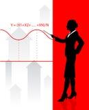 Bedrijfs vrouw met financiële vergelijking Stock Afbeeldingen