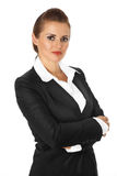 Bedrijfs vrouw met gekruiste wapens op borst Stock Foto