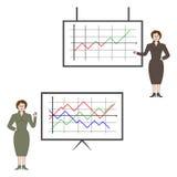 Bedrijfs vrouw met grafiek Stock Fotografie
