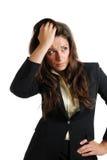 Bedrijfs vrouw met haar handen op hoofd royalty-vrije stock foto's