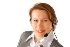 Bedrijfs vrouw met hoofdtelefoon Stock Foto