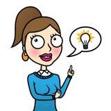 Bedrijfs vrouw met idee Stock Foto
